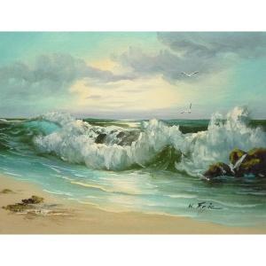絵画 肉筆油絵 F6号 「波 海 海景画」-171-特価-|touo