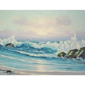 絵画 肉筆油絵 F6号 「波 海 海景画」-172-特価-|touo