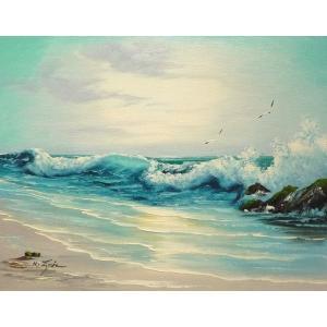 絵画 肉筆油絵 F6号 「波 海 海景画」-173-特価-|touo