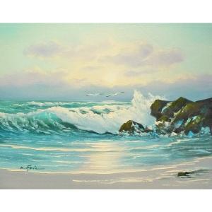 絵画 肉筆油絵 F6号 「波 海 海景画」-174-特価-|touo
