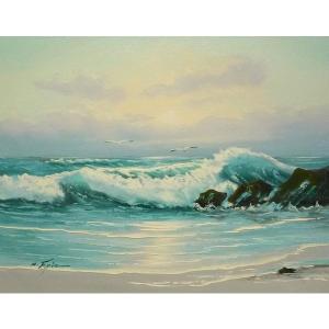 絵画 肉筆油絵 F6号 「波 海 海景画」-175-特価-|touo