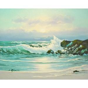 絵画 肉筆油絵 F6号 「波 海 海景画」-176-特価-|touo
