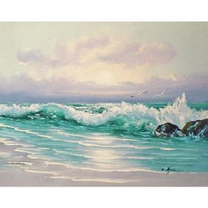 絵画 肉筆油絵 F6号 「波 海 海景画」-177-特価-|touo