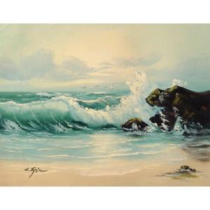 絵画 肉筆油絵 F6号 「波 海 海景画」-178-特価-|touo