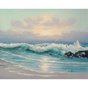 絵画 肉筆油絵 F6号 「波 海 海景画」-179-特価-|touo