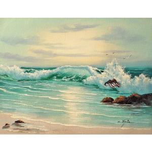 絵画 肉筆油絵 F6号 「波 海 海景画」-180-特価-|touo