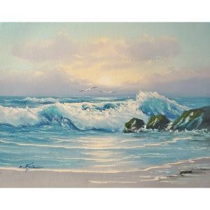 絵画 肉筆油絵 F6号 「波 海 海景画」-181-特価-|touo