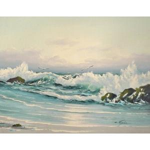 絵画 肉筆油絵 F6号 「波 海 海景画」-182-特価-|touo