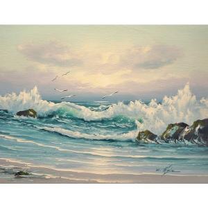 絵画 肉筆油絵 F6号 「波 海 海景画」-183-特価-|touo