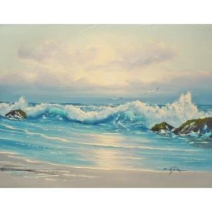 絵画 肉筆油絵 F6号 「波 海 海景画」-184-特価-|touo