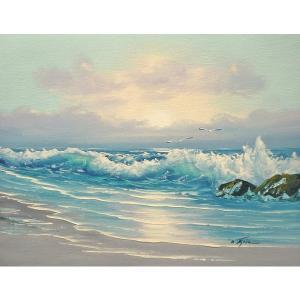 絵画 肉筆油絵 F6号 「波 海 海景画」-185-特価-|touo