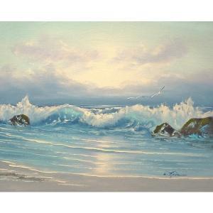 絵画 肉筆油絵 F6号 「波 海 海景画」-186-特価-|touo