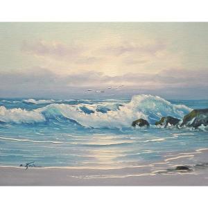 絵画 肉筆油絵 F6号 「波 海 海景画」-187-特価-|touo