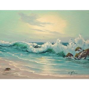 絵画 肉筆油絵 F6号 「波 海 海景画」-188-特価-|touo