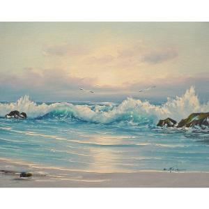 絵画 肉筆油絵 F6号 「波 海 海景画」-189-特価-|touo