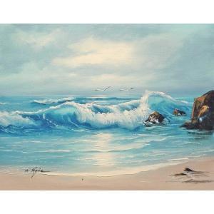 絵画 肉筆油絵 F6号 「波 海 海景画」-190-特価-|touo