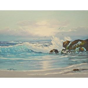 絵画 肉筆油絵 F6号 「波 海 海景画」-191-特価-|touo