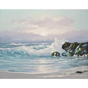 絵画 肉筆油絵 F6号 「波 海 海景画」-192-特価-|touo