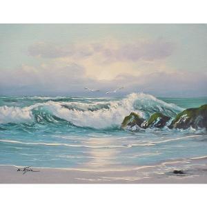 絵画 肉筆油絵 F6号 「波 海 海景画」-193-特価-|touo