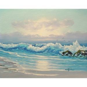 絵画 肉筆油絵 F6号 「波 海 海景画」-194-特価-|touo