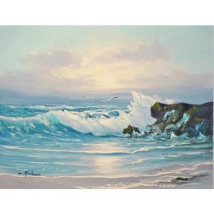 絵画 肉筆油絵 F6号 「波 海 海景画」-195-特価-|touo