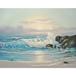 絵画 肉筆油絵 F6号 「波 海 海景画」-196-特価-|touo