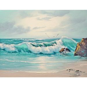 絵画 肉筆油絵 F6号 「波 海 海景画」-197-特価-|touo