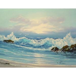 絵画 肉筆油絵 F6号 「波 海 海景画」-198-特価-|touo