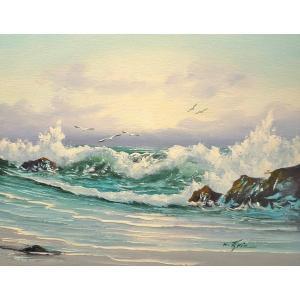 絵画 肉筆油絵 F6号 「波 海 海景画」-199-特価-|touo