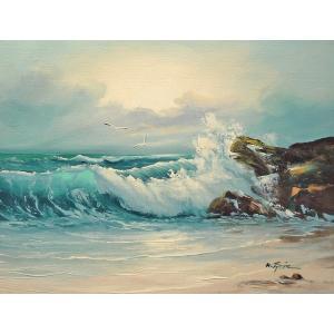 絵画 肉筆油絵 F6号 「波 海 海景画」-200-特価-|touo