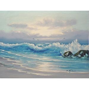 絵画 肉筆油絵 F6号 「波 海 海景画」-201-特価-|touo