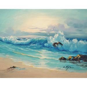 絵画 肉筆油絵 F6号 「波 海 海景画」-202-特価-|touo