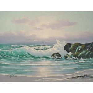 絵画 肉筆油絵 F6号 「波 海 海景画」-203-特価-|touo
