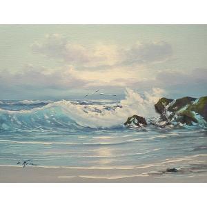 絵画 肉筆油絵 F6号 「波 海 海景画」-204-特価-|touo