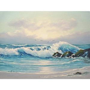絵画 肉筆油絵 F6号 「波 海 海景画」-205-特価-|touo
