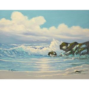 絵画 肉筆油絵 F6号 「波 海 海景画」-206-特価-|touo