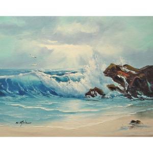 絵画 肉筆油絵 F6号 「波 海 海景画」-207-特価-|touo
