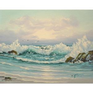 絵画 肉筆油絵 F6号 「波 海 海景画」-208-特価-|touo