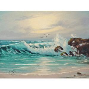 絵画 肉筆油絵 F6号 「波 海 海景画」-209-特価-|touo