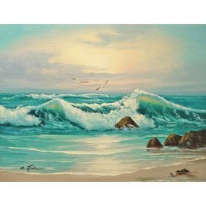 絵画 肉筆油絵 F6号 「波 海 海景画」-210-特価-|touo