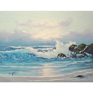 絵画 肉筆油絵 F6号 「波 海 海景画」-211-特価-|touo