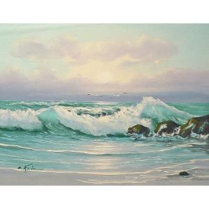 絵画 肉筆油絵 F6号 「波 海 海景画」-212-特価-|touo