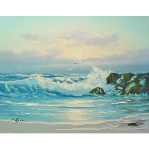絵画 肉筆油絵 F6号 「波 海 海景画」-213-特価-|touo