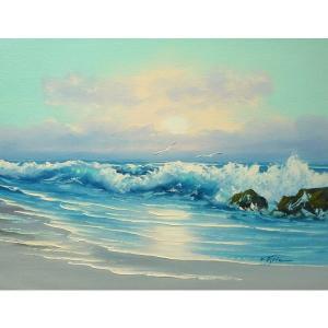絵画 肉筆油絵 F6号 「波 海 海景画」-214-特価-|touo