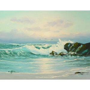 絵画 肉筆油絵 F6号 「波 海 海景画」-215-特価-|touo