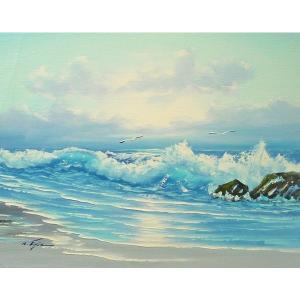 絵画 肉筆油絵 F6号 「波 海 海景画」-216-特価-|touo