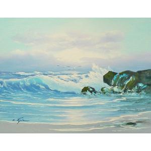 絵画 肉筆油絵 F6号 「波 海 海景画」-217-特価-|touo