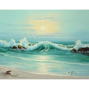 絵画 肉筆油絵 F6号 「波 海 海景画」-218-特価-|touo