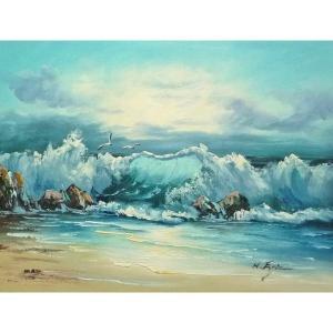 絵画 肉筆油絵 F6号 「波 海 海景画」-219-特価-|touo