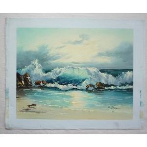 絵画 肉筆油絵 F6号 「波 海 海景画」-220-特価-|touo